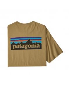 Patagonia Mens P-6 Logo Organic T-Shirt Classic Tan Offbody Back