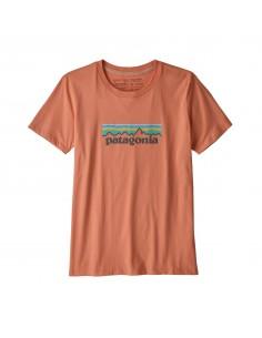 Patagonia Womens Pastel P-6 Logo Organic Crew T-Shirt Mellow Melon Offbody Front