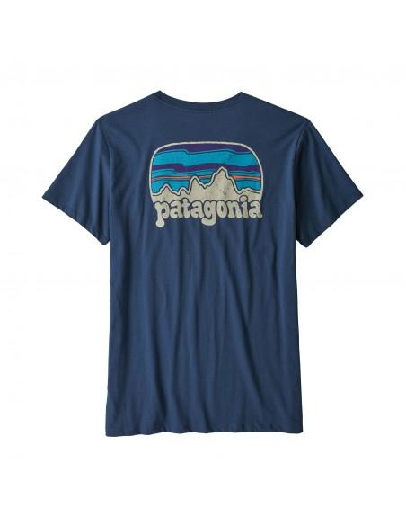 Patagonia Dámske Organické Tričko S Vreckom Fitz Roy Far Out Kamenná Modrá Offbody Zozadu