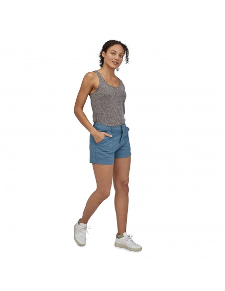 Patagonia Womens Stand Up Shorts 3 Inch Pigeon Blue Onbody Front 2