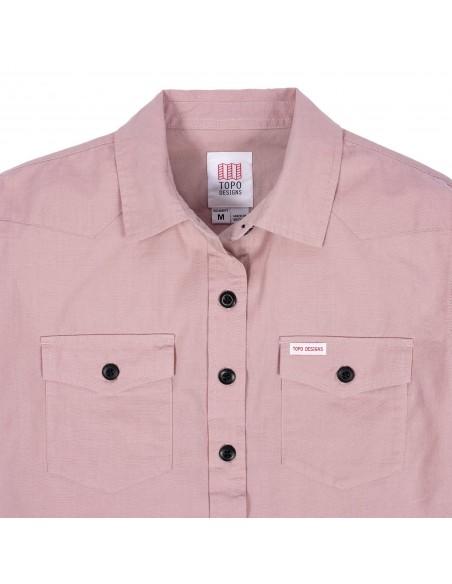Topo Designs Dámska Mountain Lightweight Košeľa Rúžová Hmla Offbody Detaily