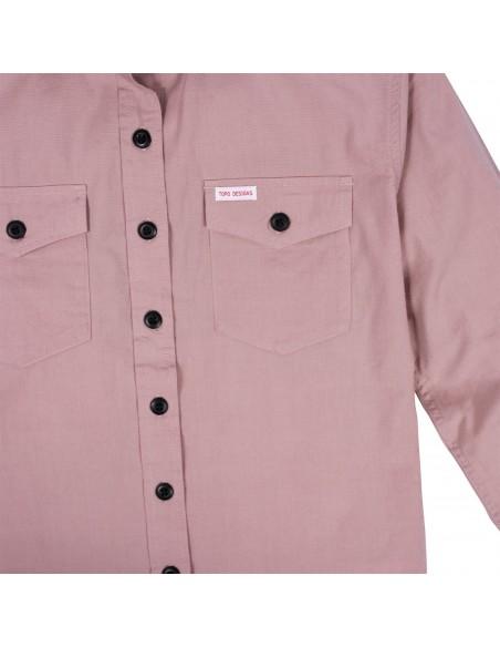 Topo Designs Dámska Mountain Lightweight Košeľa Rúžová Hmla Offbody Detaily 2