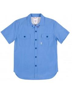 Topo Designs Pánska Košeľa S Krátkym Rukávom Stredná Modrá Offbody Spredu