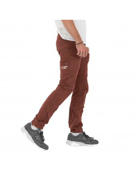 Looking for Wild Mens Technical Pants Fitz Roy Maroon Choco Onbody Side