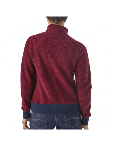Patagonia Womens Woolyester Fleece Jacket Oxide Red Onbody Back