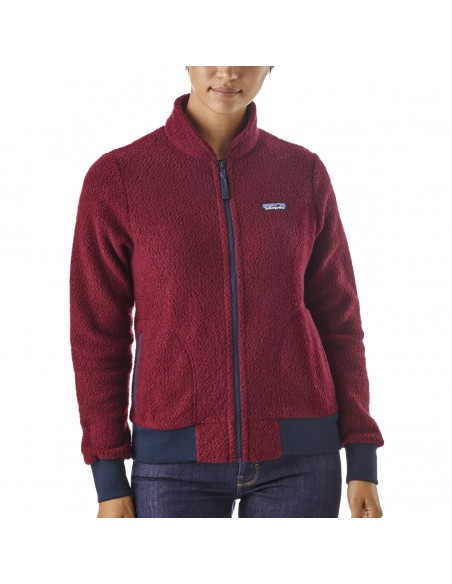 Patagonia Womens Woolyester Fleece Jacket Oxide Red Onbody Front