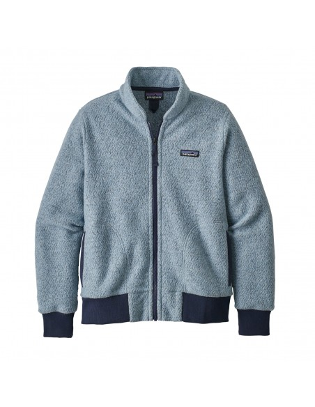Patagonia Womens Woolyester Fleece Jacket Big Sky Blue Offbody Front
