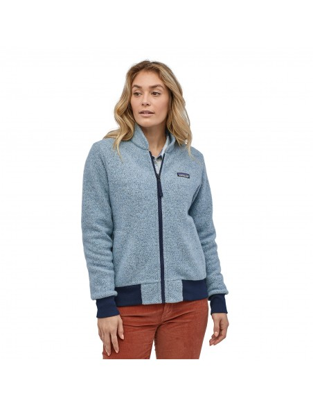 Patagonia Womens Woolyester Fleece Jacket Big Sky Blue Onbody Front