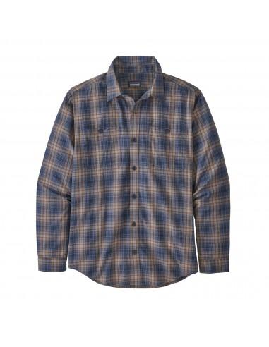 Patagonia Mens Long Sleeved Pima Organic Cotton Shirt Brew New Navy Offbody Front