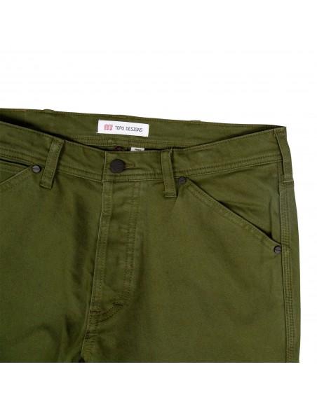 Topo Designs Pánske Keprové Nohavice 5 Pocket Olivová Zelená Offbody Spredu Detail