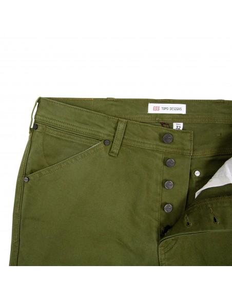 Topo Designs Pánske Keprové Nohavice 5 Pocket Olivová Zelená Offbody Spredu Detail 2