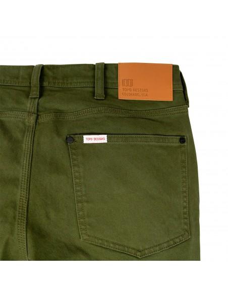 Topo Designs Pánske Keprové Nohavice 5 Pocket Olivová Zelená Offbody Zozadu Detail