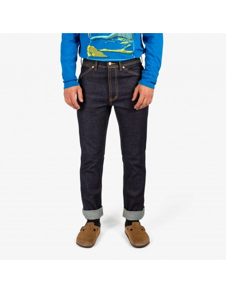 Topo Designs Mens 5 Pocket Pants Denim Raw Onbody Front