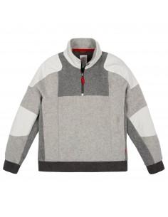 Topo Designs Pánsky Sveter Global 1/4 Sweater Sivá Offbody Spredu