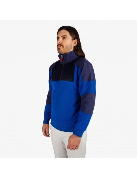 Topo Designs Pánsky Sveter Global 1/4 Sweater Modrá Onbody Zboku