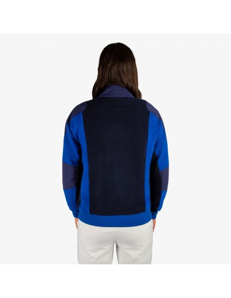 Patagonia Mens Global 1/4 Zip Sweater Blue Onbody Back