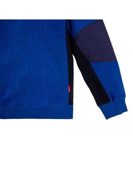 Topo Designs Pánsky Sveter Global 1/4 Sweater Modrá Offbody Spredu Detail 2