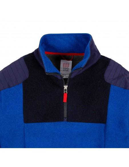 Topo Designs Pánsky Sveter Global 1/4 Sweater Modrá Offbody Spredu Detail