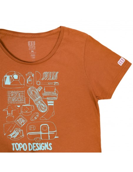 Topo Designs Womens Gear Tee Orange Offbody Details