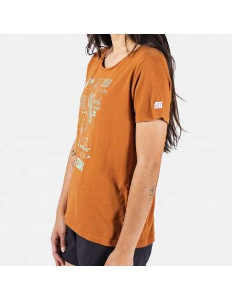 Topo Designs Womens Gear Tee Orange Onbody Side