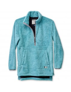 Kavu Womens Snowpack Sweater Blue Spruce Offbody Front