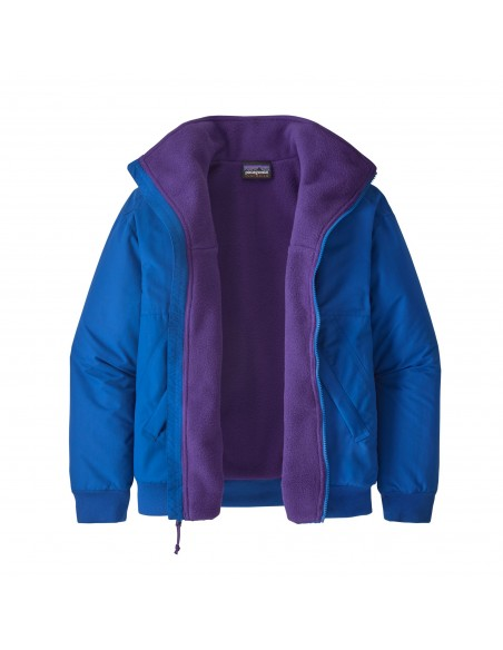 Patagonia Womens Shelled Synchilla Jacket Alpine Blue Offbody Front Open