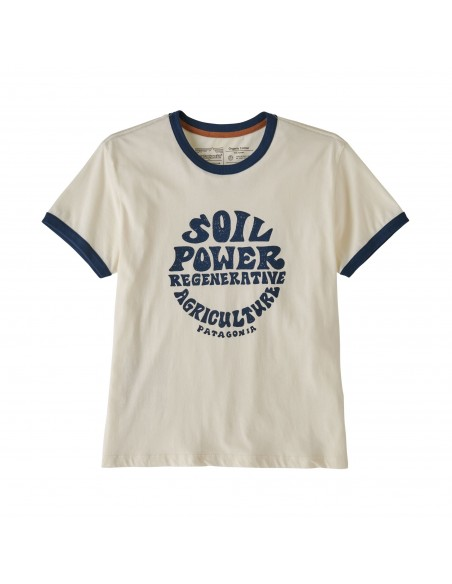 Patagonia Womens Road to Regenerative Ringer Tee White Wash Offbody Front