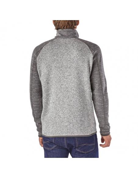 Patagonia Pánsky Fleecový 1/4 Zips Sveter Better Sweater Niklová Kováčska Sivá Onbody Zozadu