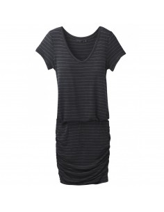prAna Dámske Šaty Foundation Dress Uhľovo Čierna Vresovaná Offbody Spredu