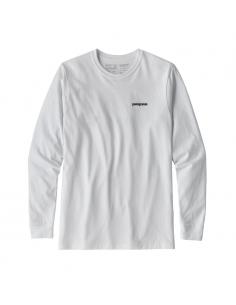 Patagonia Pánske Tričko S Dlhým Rukávom P-6 Logo Responsibili-Tee Biela Offbody Spredu