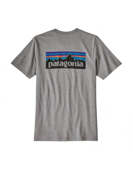 Patagonia Pánske Tričko P-6 Logo Responsibili-Tee Štrková Sivá Offbody Zozadu