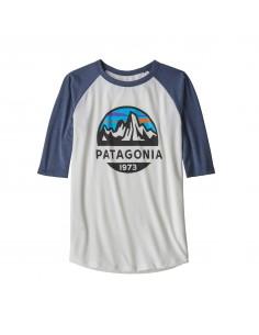 Patagonia Chlapčenské Tričko S Polovičným Rukávom Graphic Fitz Roy Scope Brezová Biela Spredu