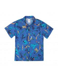 Topo Designs Pánska Cestovná Košeľa Print Modrá Offbody Spredu