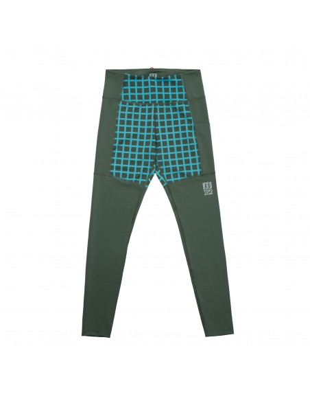 Topo Designs Womens Sport Tights Olive Grid Offbody Front