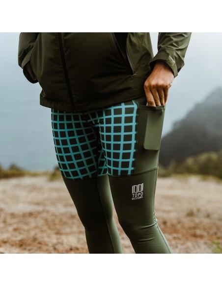 Topo Designs Womens Sport Tights Black Grid Lifestyle