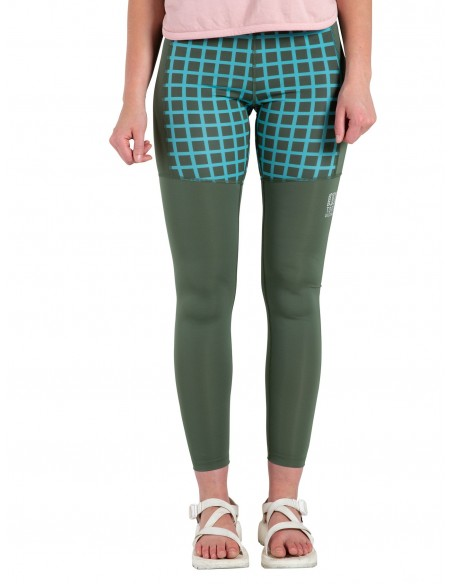 Topo Designs Womens Sport Tights Olive Grid Onbody Front