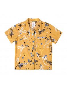 Topo Designs Dámska Turistická Košeľa Print Horčicová Žltá Offbody Spredu