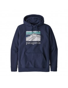 Patagonia Pánska Mikina S Kapucňou Logo Ridge Uprisal Hoody Klasická Námornícka Offbody Spredu