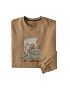 Patagonia Pánske Tričko S Dlhým Rukávom Eat Local Goat Responsibili-Tee Bearfoot Svetlá Hnedá Offbody Spredu