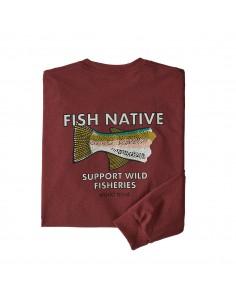 Patagonia Tričko S Dlhým Rukávom Fish Native World Trout Responsibili-Tee Hrdzavá Červená Offbody Zozadu