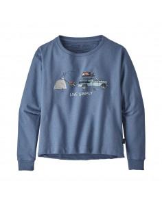 Patagonia Dámska Mikina Simply Lounger Uprisal Crew Sweatshirt Wooly Modrá Offbody Spredu