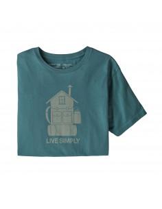Patagonia Mens Live Simply Home Organic T-Shirt Tasmanian Teal Offbody Front 2