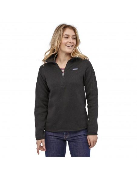 Patagonia Dámsky Fleecový Sveter Better Sweater 1/4-Zip Black Onbody Spredu