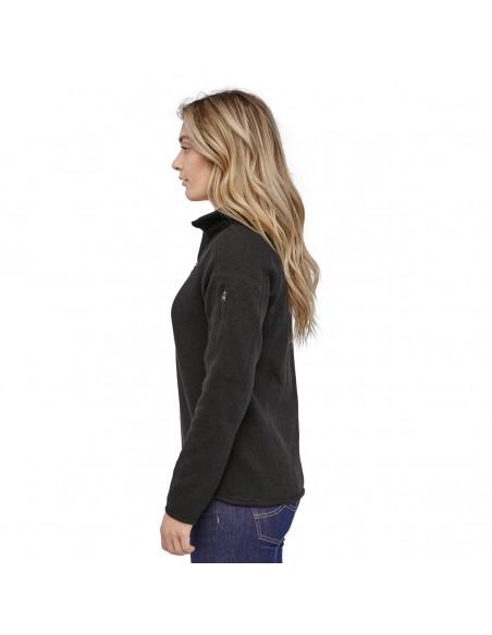 Patagonia Dámsky Fleecový Sveter Better Sweater 1/4-Zip Black Onbody Zboku