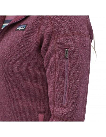 Patagonia Dámska Mikina Na Zips Better Sweater Hoody 100% Recyklovaná Balzamiková Červená Onbody Detail