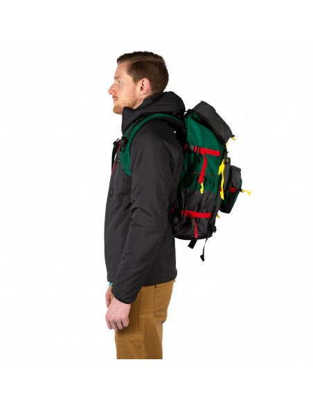Topo Designs Subalpine Pack Green Onbody Side
