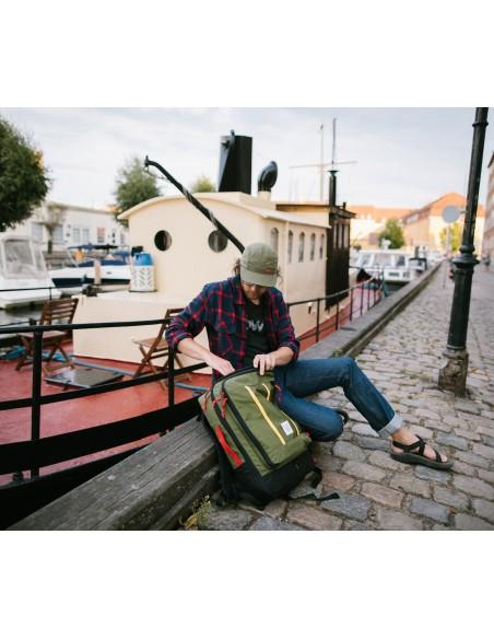 Topo Designs Travel Bag 40L Olive Onbody Lifestyle 2