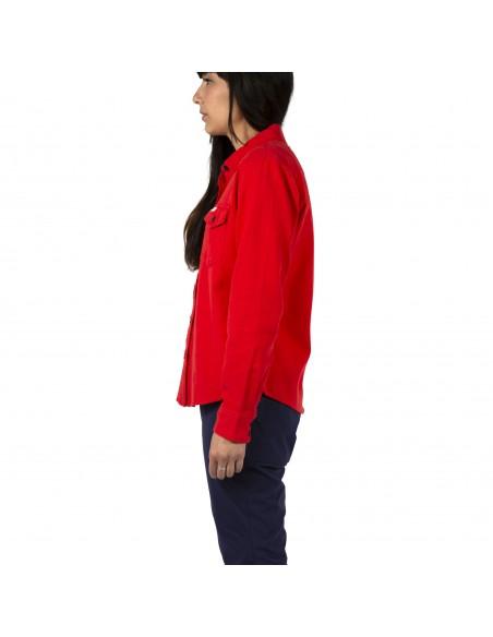 Topo Designs Dámska Kvalitná Horská Košeľa Červená Onbody Zboku