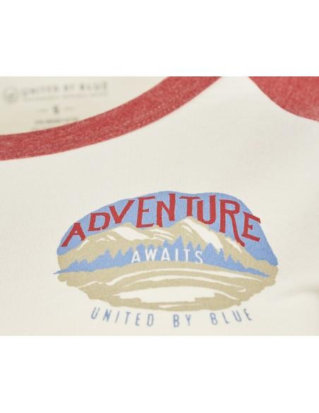 United by Blue Dámske Adventure Awaits Baseballové Tričko Starožitná Biela Detail