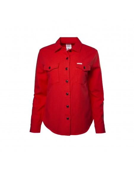 Topo Designs Dámska Kvalitná Horská Košeľa Červená Offbody Spredu